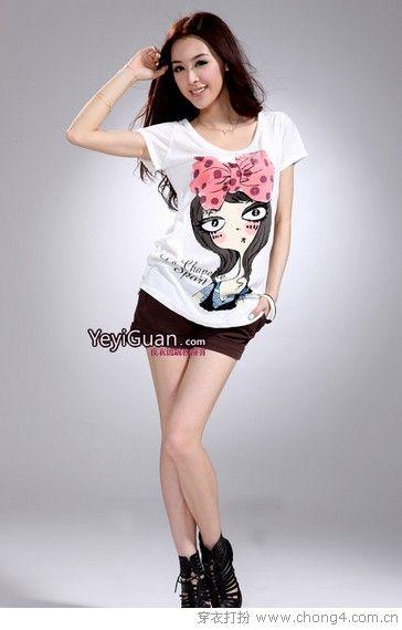 超萌超赞的纯白印花T恤